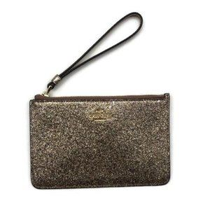 Coach Small Glitter Gold Canvas/Leather Wristlet